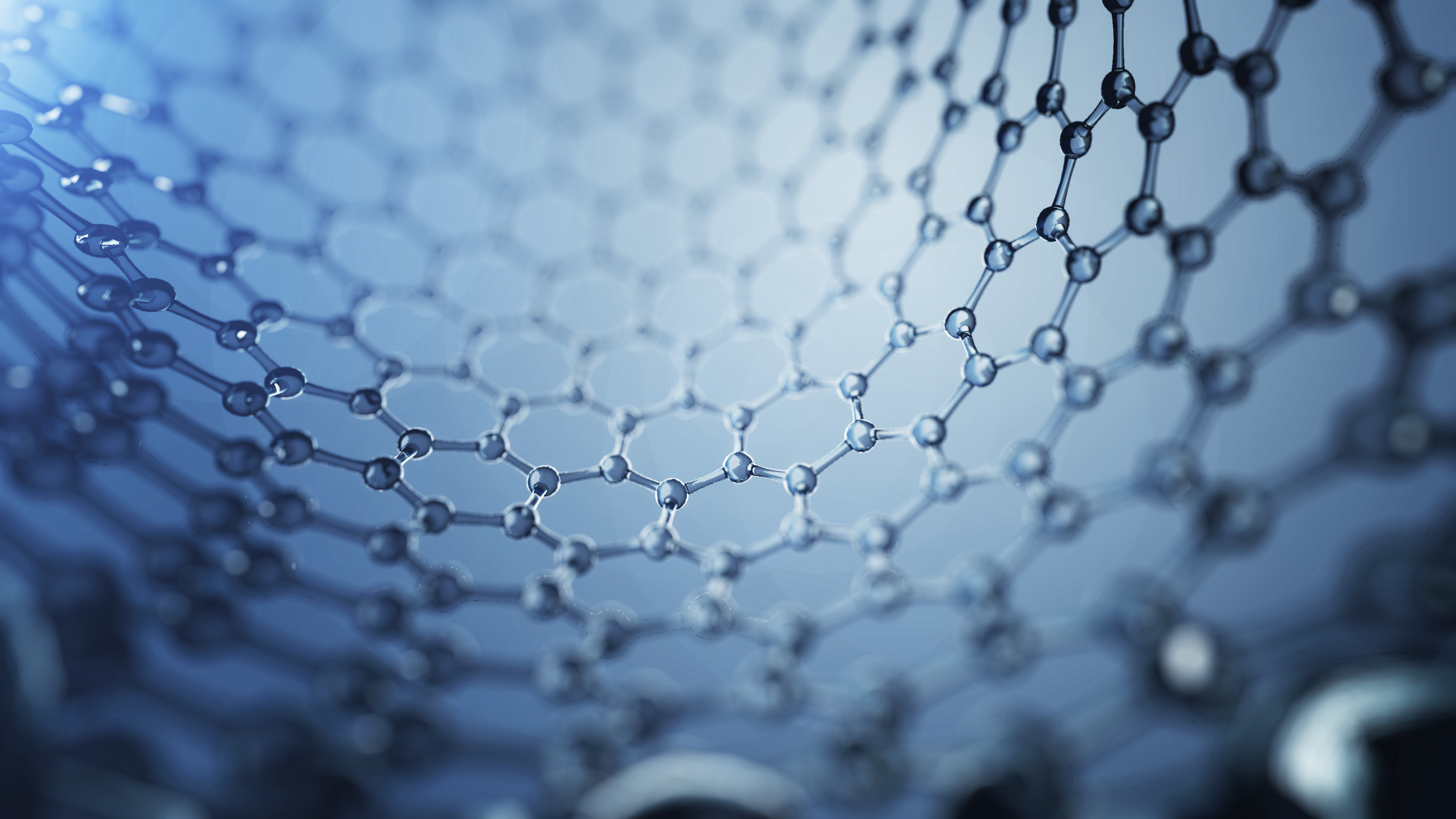 3d illusrtation of graphene molecules. Nanotechnology background illustration.